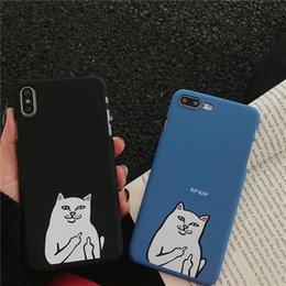 Middle Case Iphone Australia - INS Fashion Pattern Middle Finger Base Cat Grind Arenaceous Case For iPhone X XS XS MAX,Cover For iPhone 6 7 8 plus