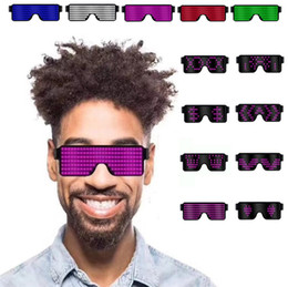 $enCountryForm.capitalKeyWord Australia - New Fashion 8 style USB Led Party USB charge Luminous Glasses Glow Sunglasses Concert light Toys Christmas decorations Sunglasse 5181