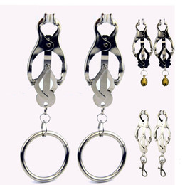 Wholesale Butterfly shape Steel Nipple Breast clitoris Flirt clamps clip with bell bells ring SM Bondage Sex Toys Women Female Sex Toys