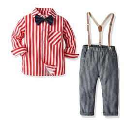 Gentleman suit suspenders online shopping - 2020 new boys suits kids outfits gentleman boys clothing sets kids designer clothes boys clothes stripe shirt suspender trousers A9835