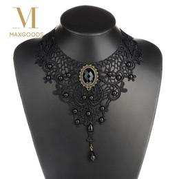 $enCountryForm.capitalKeyWord Australia - 1pc Women Black Lace& Beads Choker Victorian Steampunk Style Gothic Collar Necklace Gift