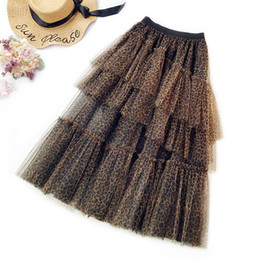 b364582cad Female Spring Leopard Irregular Cake Layered Mesh Long Skirts Womens Sexy  Pleated Tiered Tulle Maxi Long Skirts Gray Fashion