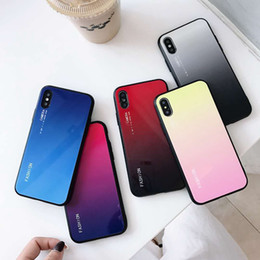 Chinese  New fashion gradient color tempered glass back cover cell mobile phone case for Iphone XS MAX XR X 6S 7 8 PLUS tpu case shockproof hard manufacturers