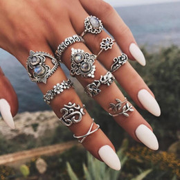 ElEphant jEwElry sEts online shopping - 5 Set European and American fashion Rings Set Vintage Silver Lotus Elephant Midi Finger Knuckle Rings for Women Jewelry gift Bague Femme