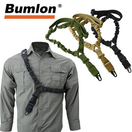 Discount single point gun sling - Adjustable Tactical Gun Sling Belt Single Point 1000D Heavy Duty Mount Bungee Military Rifle Sling Kit Airsoft Strap HT3
