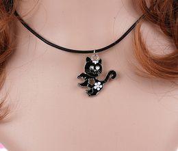 $enCountryForm.capitalKeyWord Australia - Animal Enamel Black Cat Charms Vintage Silver Choker Collar Statement Necklace Pendants DIY Jewelry Women Clothing Accessories HOT