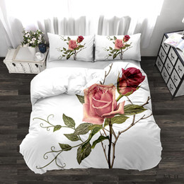 3d white rose comforter Australia - 3D Rose Bedding Set Duvet Cover Floral Print Bed Linen Bedding Cover Comforter Sets Bedclothes Bed Set(no Sheet)