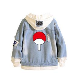 Wholesale naruto coat jacket online – oversize Anime Naruto Itachi Uchiha Women Spring Long Hoodies Harajuku Jeans Jacket White Denim Coat Patchwork Knitted Sweatshirts