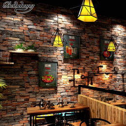 Cafe wallpaper online shopping - beibehang Stereo retro stone pattern wallpaper cafe hotel background wall simulation stone restaurant culture stone wallpaper