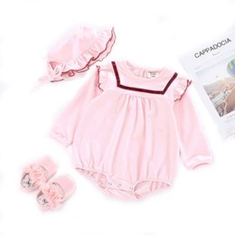 $enCountryForm.capitalKeyWord Australia - INS Fall Toddler Baby Girls Rompers Ruffle Collar 100% Cotton Long Sleeve Jumpsuits with Hat 2pcs Set Kids Girls Bodysuit Baby Romper 0-3T