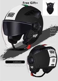 $enCountryForm.capitalKeyWord Australia - ECE Motorcycle Helmet Half Face ABS Motorbike Helmet Electric Safety Double Lens Moto Casque Casco Moto for Women Men