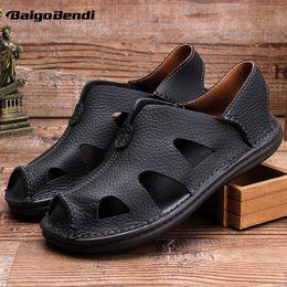 Slide Sandals Australia - Full Grain Leather Close Toe Business Man Lichee Grain Black Sandals Light Weight Soft Slides Shoes Fisherman Summer Shoes