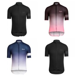 Dark blue clothing online shopping - Summer Riding T Shirts Sweat Absorption RAPHA Short Sleeve Gradient Color Clothes Men And Women With Zipper Dark Blue sy C1