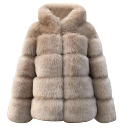 Wholesale brown mink fur coat resale online - Plus size solid Women Faux Mink Winter Hooded New Faux Fur Jacket Warm Thick Outerwear Jacket women winter warm Coat