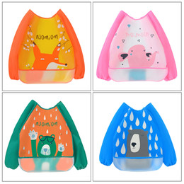 capes for babies NZ - Baby Cartoon animals pattern Waterproof Stain Resistant Cape Bib Children Drawing Smock for girl and boy baby care