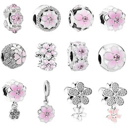 Clip Charms Free Shipping Australia - free shipping 1pc silver spring light pink Magnolia flower clip or bead charms Fits European Pandora Charm Bracelets mix020