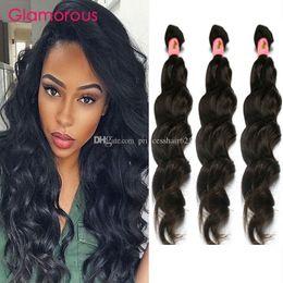 "Pure Original Human Hair Canada - Glamorous Malaysian Peruvian Brazilian Indian Hair Extensions 100% Original Virgin Human Hair 3Pcs Lot 8""-34"" Natural Wave Human Hair Weaves"
