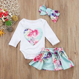Flower Brand Skirts Australia - Newborn Kid Baby Girls Floral Clothes Jumpsuit Bodysuit Skirt Outfits Set Toddler Infant Girl Flower Tops Skirts Clothing 3PCS