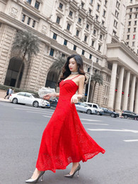 Holiday Evening Gowns Floor Length Australia - Summer 2019 New Lace Feminine Temperament Holiday Super Long Skirt Sling Sleeveless Evening Dresses Ball Gown QC0226