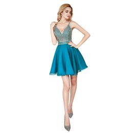 brooch stocking flowers UK - ME00101 Spaghetti Straps Blue Homecoming Dresses Crystal Beading Glitz Prom Dresses A-Line Backless Short Party Dresses in Stock