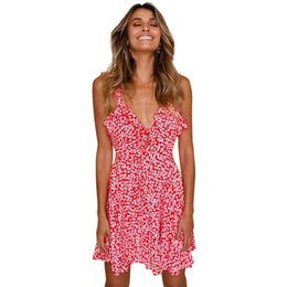 a6ada94c2b4 2019 Summer Women Beach Short Dress Boho Floral Ruffle V Neck Backless  A-line Dress Casual Pleated Mini Sun Dress Red Clothes