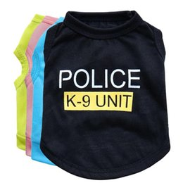 Clothes For Small Teddy Australia - New Dog Vest Cotton Shirt for Small Dog Police Clothes t shirt for Teddy Chihuahua Casual Comfortable Summer Printed Apparel for Pet