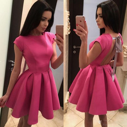 Cute Scoops Dress Australia - Cute Backless Homecoming Dress With Bow Knot Cap Sleeve Scoop Neck Mini Short Prom Cocktail Party Dress Custom Made