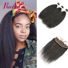 kinky straight hair weaves Australia - Ruiyu Human Hair Kinky Straight Bundles With Frontal Brazilian Hair Weave Bundles With Lace Frontal Closure Peruvian Remy Hair Wefts Vendor