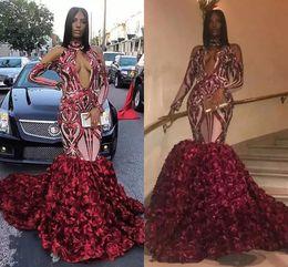 $enCountryForm.capitalKeyWord Australia - Burgundy Rose 3D Floral Evening Dresses Long Mermaid Black Girls Party Gown Long Sleeves Sequins Sexy Plus Size Arabic Vestidos AL2364