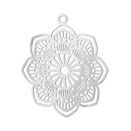 $enCountryForm.capitalKeyWord UK - 20PCs Stainless Steel Charms Hollow Flower Life Charm For Bracelets Necklace Pendants DIY Charms For Jewelry Making Finding 2016