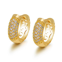 China (649E) Fashion Full Zircon Hoop Earrings (24K) for women Fashion Jewelry Gold Plated Lead and Nickel Free suppliers