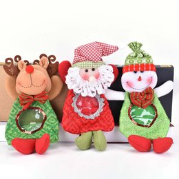 wholesale christmas gift NZ - Christmas Gift Bag Holders Santa Claus Snowman Reindeer Candy Bag for Home Decoration