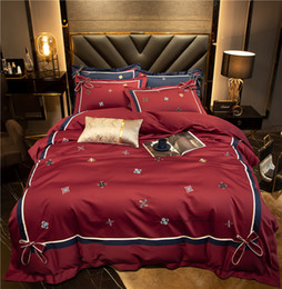 wine bedding sets Australia - Soft Silky Egyptian Cotton Premium Embroidery Luxury Wine Red Bedding set Queen King size 4Pcs Duvet Cover Bed sheet Pillowcase