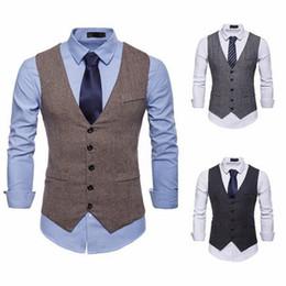British Slim Suits NZ - New Country Farm Wedding Vests Custom Made British Style Groom Vest Slim Fit Mens Suit Vest Waistcoat Dress