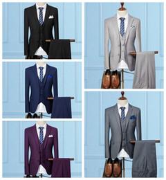 Korean Classic Suits Australia - 2019 new Korean version of the Slim married three-piece suit (jacket + vest + pants)  explosion models multicolor two button Wedding Tuxedos