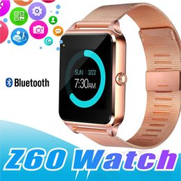 bluetooth smart watch sim Australia - Bluetooth Smart Watch Phone Z60 Stainless Steel Support SIM TF Card Camera Fitness Tracker GT08 GT09 DZ09 V8 Smartwatch for IOS Android