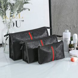 wholesale round cosmetic bag UK - 3pcs set High Quality Thicken Large Capacity Cosmetic Storage Bag Nylon Travel Insert Organizer Handbag Purse Makeup Bag