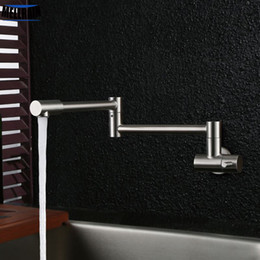 Single Wall Kitchens Australia - Free Rotation Single Cold Kitchen Faucet Foldable Sink Water Tap Stainless Steel Brushed Wall Mounted Free Shipping