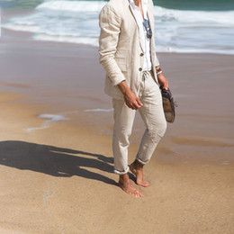 casual groom tuxedo Australia - Beach Beige Linen Men Suits For Wedding Suits Bridegroom Groom Wear Prom Party Custom Slim Fit Casual Tuxedo Best Man Blazer Jacket+Pants