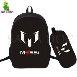 Messi 10 2 Pcs set Backpack Women Men Laptop Backpack for Teenagers Girls  Boys Travel Rucksack Children School Bags Fans Gift c80b45975fc78