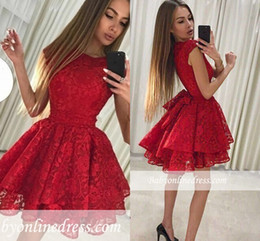 Cute Lace Homecoming Dresses Australia - 2019 Red Lace Homecoming Dresses A Line Cute Cocktail Dress Sweet Formal Party Gowns Short Prom Evening Gown