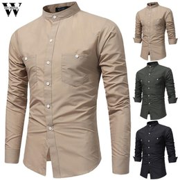 $enCountryForm.capitalKeyWord Australia - Womail Shirt Men Business Shirts fashion Button Long Sleeve Shirt Slim Fit Stand Collar Gift High Quality New Casual Top 2019 M1