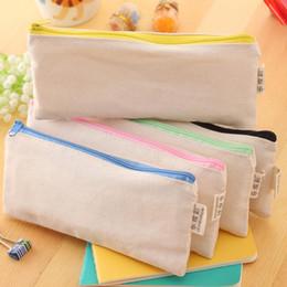 Plain canvas Pencil case wholesale online shopping - 20 cm DIY White canvas blank plain zipper Pencil pen bags stationery cases clutch organizer bag Gift storage pouch colors