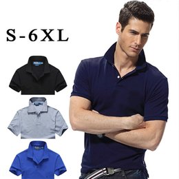 polo 6xl NZ - 2019 Big Size S-6XL Polo Shirt Men Big Horse Camisa Solid Short Sleeve Summer Casual Camisas Polo Mens High Quality
