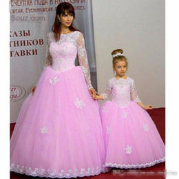 $enCountryForm.capitalKeyWord Australia - 2019 Pink Purple Tulle Mother And Daughter Matching Ball Gown Prom Dresses Long With Long Sleeve Applique Formal Dresses Party Gowns