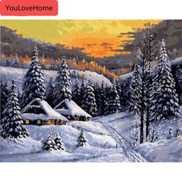oil paintings snow landscape Canada - Picture By Numbers Snow Landscape Gift Kits Drawing Canvas Handpainted Painting Home Decor Gift
