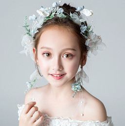 beauty crowns tiaras UK - Beauty White Flowers Girls' Head Pieces Flower Girls' Head Pieces Girls' Headbands Girl's Wedding Tiara Crown Kids' Accessories H323024