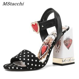 89535954449 Sexy rhineStone t Strap ShoeS online shopping - MStacchi Sexy Red Heart  Chunky Heel Gladiator Sandals