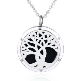 $enCountryForm.capitalKeyWord NZ - Tree of Life Aromatherap Diffuser Pendant for Men Women Enamel Charm Essential Oil Diffuser Stainless Steel Magnetic Locket Perfume Necklace
