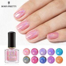 Red nail aRt diy online shopping - BORN PRETTY Pink Holographic Nail Polish Glitter ml Shimmer Colorful Nail Art Manicure Varnish DIY Design